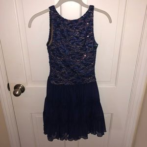 Pumpers Sparkly Blue Lace Dance Dress Small